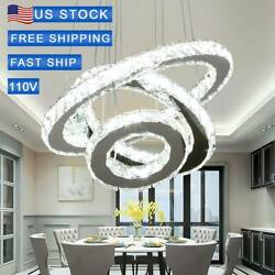 Adjustable 3 colors LED Chandelier Crystal Pendant Lamp Round Ceiling Light Ring $89.90