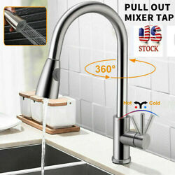 Brushed Nickel Stainless Kitchen Sink Faucet Pull Out Bar Single Hole Mixer Tap $27.55