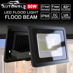 2X 50 Watt Slim High Power LED Flood Light Cool White Indoor Outdoor Fixtures