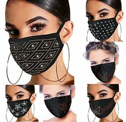 Women#x27;s Crystal Glitter Rhinestone Sparkle Bling Reusable Face Mask Covering $5.95