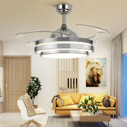 36quot; 42quot; LED Invisible Ceiling Fan Light Retractable Blade Living Room Chandelier $108.30