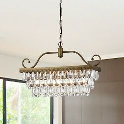 Nerthus 4 Light Chandelier with Crystal Accents Golden Bronze $129.99