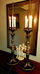 HOLLYWOOD VINTAGE REGENCY 3 SETTING LIGHT CANDELABRA BRASS AND CRYSTAL LAMPS 33quot; C $274.31
