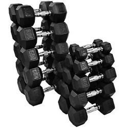 NEW FRAY FITNESS RUBBER HEX DUMBBELLS select weight 1015 20 25 30 35 40LB $134.00