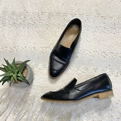 Everlane loafers modern black leather pointed toe block heel 7.5 Italy $39.99