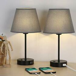 Bedside Table Lamps with Dual USB Charging Ports Set of 2 Modern Lamps with G... $59.08