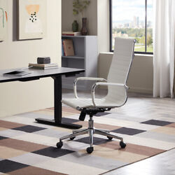 Modern High Back White Ribbed Upholstered PU Leather Executive Office Desk Chair $99.99