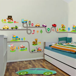 Cartoon Cars Highway Track Removable Wall Stickers for Kids Bedrooms Wall Art $12.49