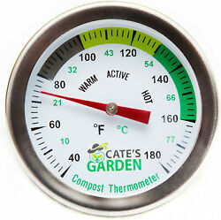 Cate#x27;s Garden Compost Thermometer Stainless Steel for Backyard 2quot; Diameter $29.99