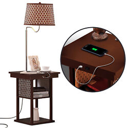 Brightech Madison Nightstand Side Table with Built In Lamp and USB Port Brown
