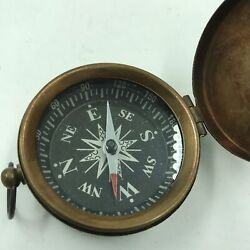 Nautical Brass Finish Compass With Lid Vintage Antique Mini Pocket Style Pendant $14.98
