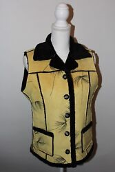 Robert Kitchen Canada Womens Medium Yellow Black Sherpa Lined Vest Jacket $23.75