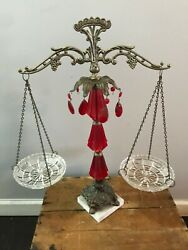 Vtg Mid Century Brass Crystals Decorative Balance Justice Scale Red Chandelier $74.99