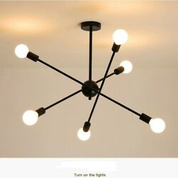 6 Lights Modern Sputnik Chandelier Rotatable Pendant Lighting Ceiling Fixtures $69.99