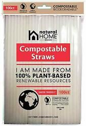 Natural Home Brands Compostable Straws in Frost 100 count $7.99