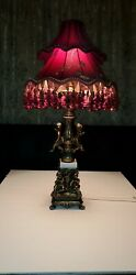 HOLLYWOOD REGENCY VINTAGE CHERUB BRASS MARBLE LAMP WITH RED FRINGE SHADE 31quot; C $575.50