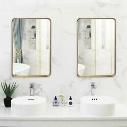 2 Packs Hanging Wall Mirror Rectangle Gold Framed Mirror for Bathroom Bedroom $57.95