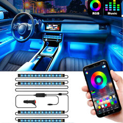Lights Car LED With App Control 48 LED RGBIC Color Lighting Kits Sync to Music $15.29