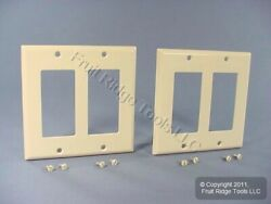 2 Leviton Light Almond Decora 2 Gang Thermoset Wallplate GFCI GFI Covers 80409 T