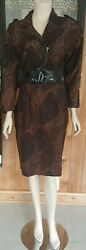 Retro Womens 80s 90s Vintage Skirt Suit Set Size S Animal Print Career Casual $24.00