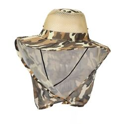 Mens Ear Snap Hat Flap Cap Wide Brim Fishing Hiking Neck Cover Sun Protection $8.18
