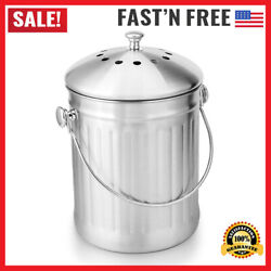Stainless Steel Indoor Compost Bucket for Kitchen Countertop Odorless Compost $26.01