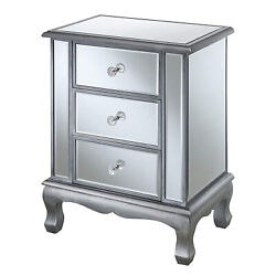 Convenience Concepts Gold Cost Vineyard Mirrored End Table Silver 3 Drawer $149.19