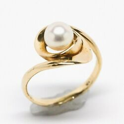 14K Yellow Gold Swirl Design 6.5mm Floating White Pearl Ring Size 7 2.64 grams $99.00