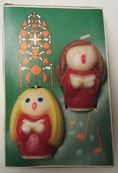 VTG Gurley Christmas Novelty Candles Pair Choir Kids in Box 2 ½quot; tall Non Burnt $17.49