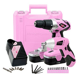 Pink Power Drill and Electric Screwdriver Tool Kit PP1848K 18 Volt Cordless Set $145.88