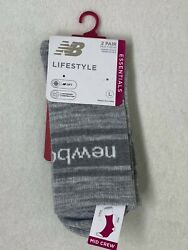 New Balance Lifestyle Essentials Grey Socks 2 Pair Mid Crew Size: Large $9.99