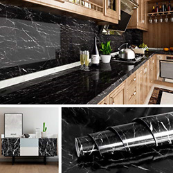 Livelynine Black Marble Wall Paper for Kitchen Counter Top Covers Peel and Stick $13.41