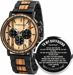 BOBO BIRD Mens Personalized Engraved Wooden Watches Stylish Wood amp; Stainless $68.99