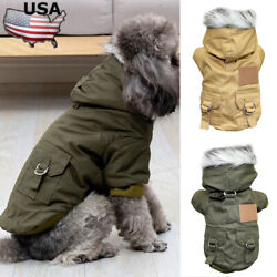 Pet Small Dogs Winter Fur Hooded Jacket Coat Clothes Puppy Warm Jumpsuit Apparel $11.09
