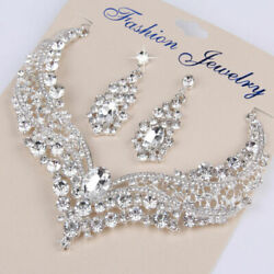 Bridal Rhinestone Luxurious Necklace Earring Set for Wedding Party Prom Gift $11.69
