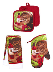 5pc Red Wine Kitchen Linen Set Vineyard Towels OvenMitt Potholders FREE SHIPPING $15.99