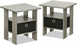 2 Pack Bedside End Bedroom Table Nightstand With Modern Bin Drawer End Table $79.99