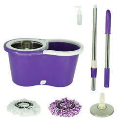 Magical Floor Mop Rotating 360° Easy Cleaning with 2 Spinning Heads Purple $30.69