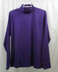 Women#x27;s Lands End Mock Neck Shirt Large Relaxed Fit $18.99