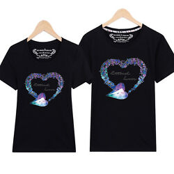 Fashion new 6 color Women men summer tops Leisure couple T shirt Diamond love $14.08
