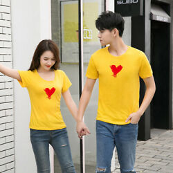 Fashion new 8 color Women men summer tops Leisure cotton couple T shirt Love $14.08