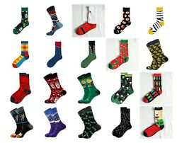 Mens Crew Socks Novelty Funny Funky Happy Bright Cool 1 Pair $4.99