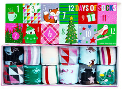 Pink – 12 Days of Christmas Ladies Casual Comfortable Socks Assorted Colors $13.99