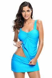 WOMEN quot;SPECIALquot; S M XXL XXXL Blue Solid Ruched 2pc Tankini Skirted Swimsuit $12.95