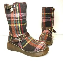 Sugar Boots PLAID Brown Women#x27;s Buckle Back Zip Booties Wmn Sz 7 Above Ankle $26.99