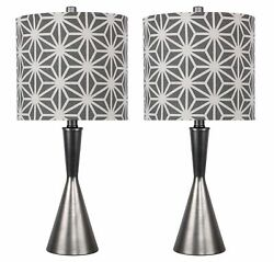 23quot; Vintage Metal Table Lamps w Hourglass Body amp; Patterned Drum Shades 2 Pack $89.99