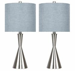 23quot; Brushed Nickel Table Lamps w Hourglass Body amp; Dusty Blue Drum Shades 2 PK $89.99