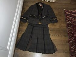 Fabulous Black and Brown Tweed Tory Burch Skirt And Jacket Suit $98.00