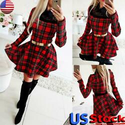 Women Plaid Lace Knitted Mini Dress Ladies Christmas Party Long Sleeve Dress USA $29.01