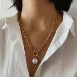 Baroque Pearl Pendant Gold Chain Necklace $19.99